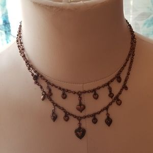 Double strand heart necklace